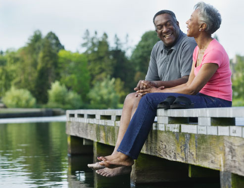 Medicare couple on dock